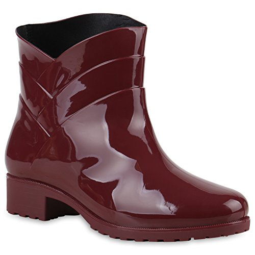 Damen Gummistiefel Profilsohle Stiefel Regen 124120 Dunkelrot Carlton 40 Flandell