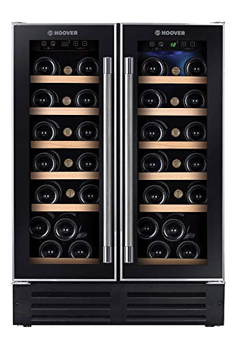 Hoover HWCB 60D - Vinoteca de integración, 38 botellas, 2 zonas, Filtro carbón, Compresor antivibraciones, Iluminación led, 39dba, 116l, Clase D