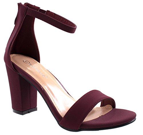 Top Moda Women's Hannah-1 Single Band Chunky/Block Heel Sandal with Ankle Strap and Zipper Closure,8.5 B(M) US,Maroon