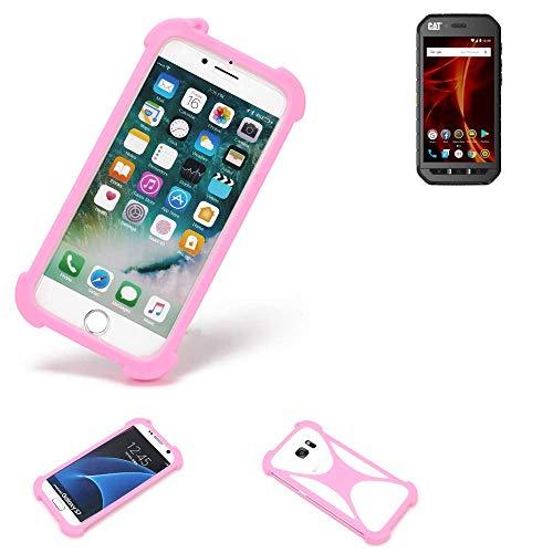 K-S-Trade Handyhülle Für Caterpillar Cat S41 Dual-SIM Schutzhülle Bumper Silikon Schutz Hülle Cover Case Silikoncase Silikonbumper TPU Softcase Smartphone, Pink (1x)