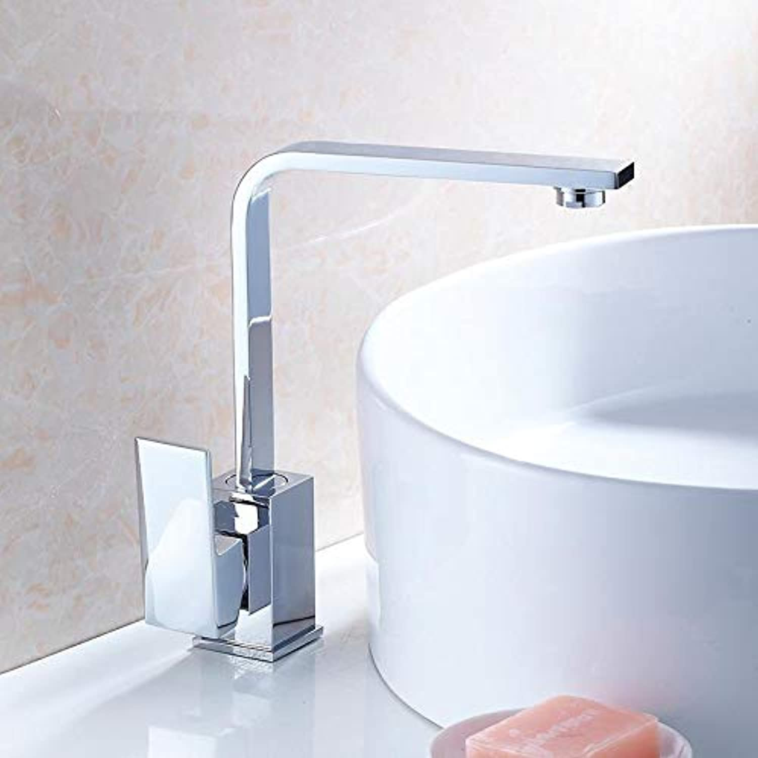 Taps Faucet Kitchen Faucet Sink Sink Basin Above Counter Basin Hot and Cold Water Faucet Square Flat Tube redating Water