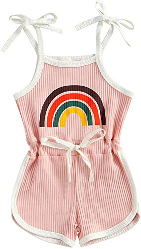 Toddler Baby Girl Sleeveless Halter Jumpsuit Ribbed Romper Shorts Playsuit Rainbow Outfit Cute Summer Clothes (Pink,3-4T)