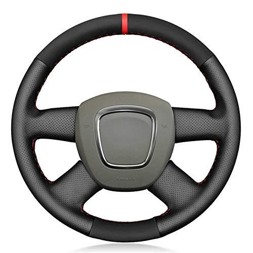 NIUASH Cubierta de Cuero Negro para Volante de Coche, Apta para Audi A3 (8P) Sportback A4 (B8) A4 (B7) A6 (C6) Avant de 4 radios