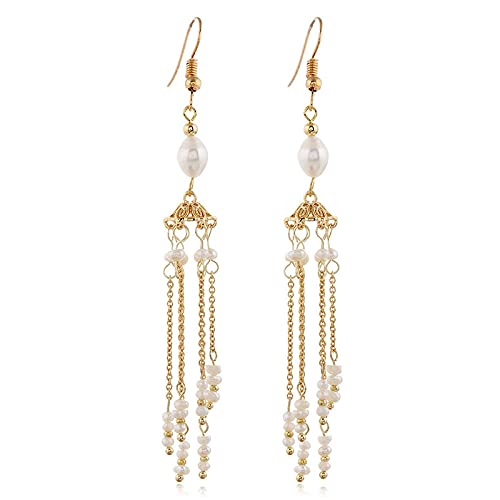 Pendientes de mujer pendientes de perlas de agua dulce naturales pendientes de gancho borla largos pendientes