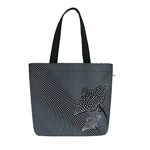 Eco Right Strandtasche Groß mit Reißverschluss und Innentaschen Cotton Beach Bag   Canvas Einkaufstasche Shopper Tasche Damen, Handtasche und Reisetasche mädchen