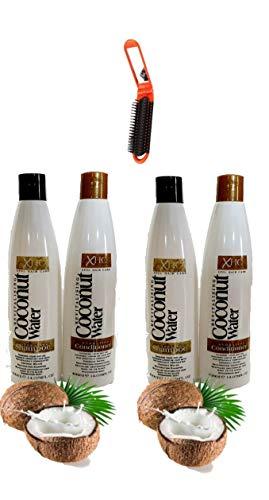 2 Champús + 2 Acondicionadores-Cuidado del Cabello-Hidratante-Coco-Anti-caspa-400 ml x 4 = 1,6 Litros + Cepillo de pelo plegable ofrecido