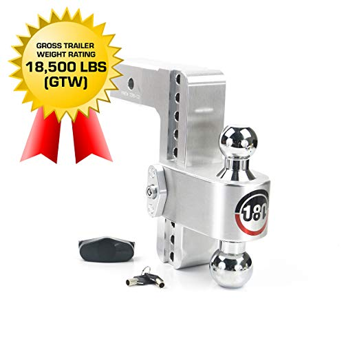 "Weigh Safe 180 HITCH CTB8-2.5 8"" Drop Hitch, 2.5"" Receiver 18,500 LBS GTW - Adjustable Aluminum Trailer Hitch Ball Mount & Chrome Plated Combo Ball, Dual Pin Keyed Lock"