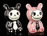 Furry-Bones Salz- und Pfeffer-Streuer-Set - Bun-Bun pink | Deko-Artikel, handbemalt, H 9 cm, Keramik