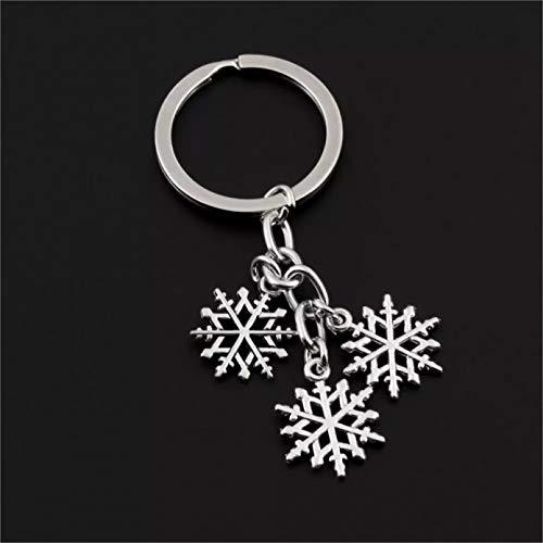 HWWGG Moda Encantador Invierno Copo de Nieve Llavero Anillo Titular Monedero Colgante Regalo para niños