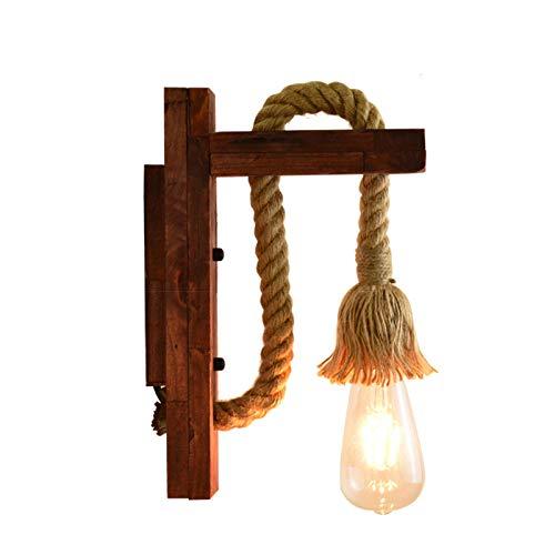 UEXCN Lámpara de pared de madera E27 estilo americano pastoral cuerda de cáñamo vintage (sin bombilla) para decorar el hogar