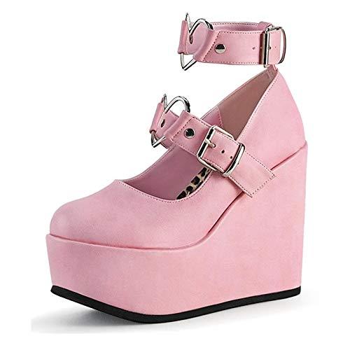 Erocalli Platform Mary Jane Shoes for Women Kawaii Heart Lolita Shoes Gothic Studded Wedges Heels Pumps Pink