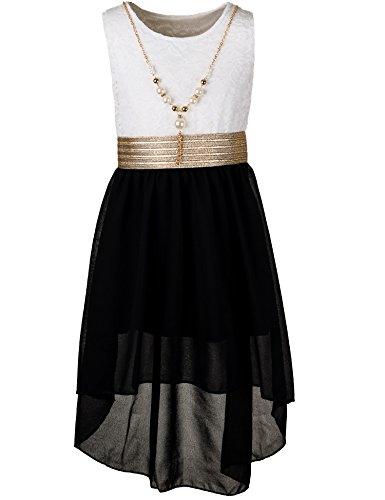 Unbekannt Kinder Sommer Fest Kleid für Mädchen Sommerkleid Festkleid mit Kette in vielen Farben M288wsw Weiss Schwarz Gr. 10/128 / 134