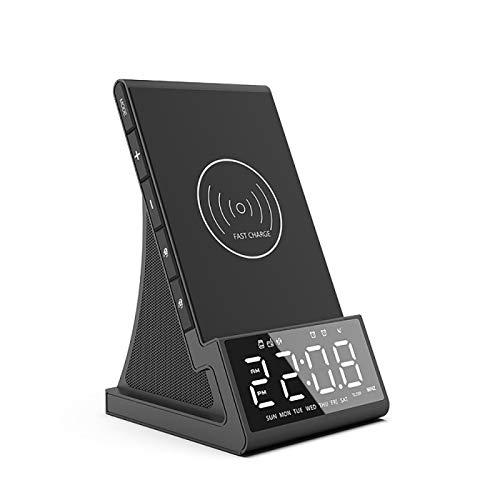 Despertador de carga inalámbrica con altavoz Bluetooth, reloj despertador LED con base de carga inalámbrica, radio Fm USB cargador rápido AU