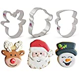 Set di formine per biscotti a tema natalizio (3 pezzi) Ann Clark Cookie Cutters con ricettario, viso di Babbo Natale, muso di renna e viso dell'pupazzo di neve