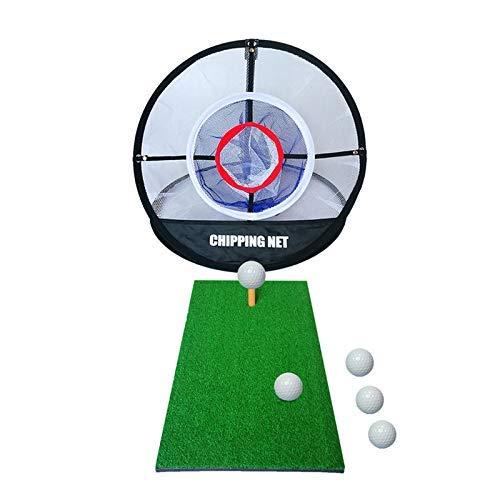 Elikliv Golf Chippen Matte Und Netz, 60x30cm Golf Schlagen Matte Mit Golfball Tee Indoor Outdoor Training Gummi Tee Halter Matte