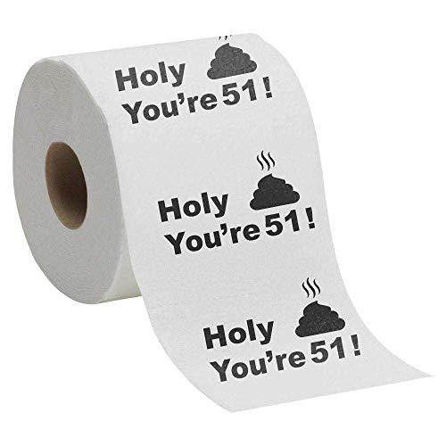 51st Birthday Gift Present Toilet Paper - Happy Fifty First 51 Prank Funny Novelty Gag Joke Gift - Holy Crap