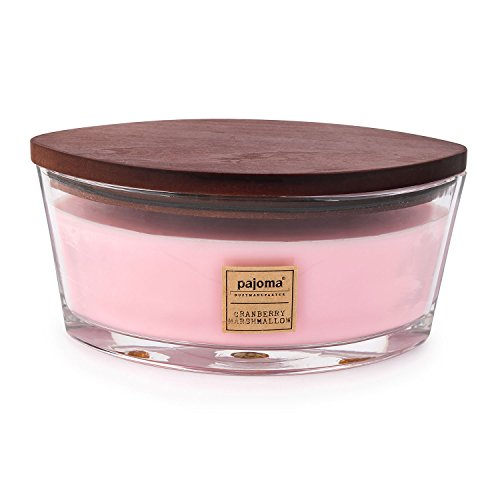 Pajoma Duftkerze Cranberry Marshmallow, 500 g, im Glas mit Holzdeckel, NEU Premium Edition, für circa 45 Stunden