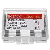 BOJACK 5x20mm 0.5A 0.5amp 250V 0.2 x 0.78 Inch F0.5AL250V Fast-Blow Glass Fuses(Pack of 20 Pcs)