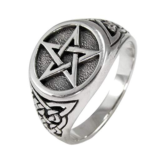 Sterling Silver Celtic Knot Triquetra Pentacle Pentagram Ring Size 10