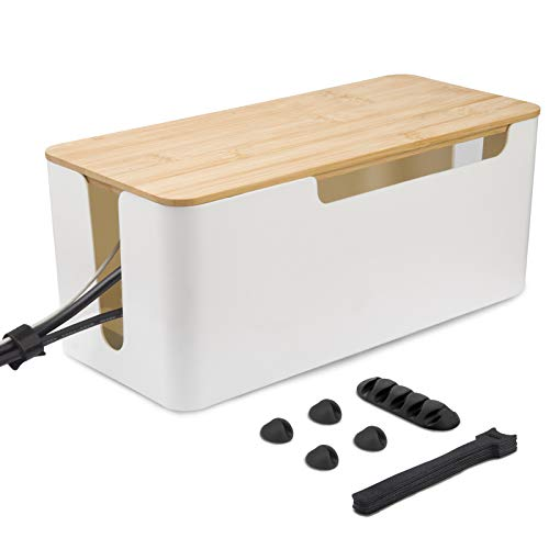 Doinboo Cable Management Box, Anti-dust Cable Organizer Box with Bamboo Cover, Large Cord Organizer Box/Desk Cable Box Organizer to Hide Wires & Power Strips for Home & Office