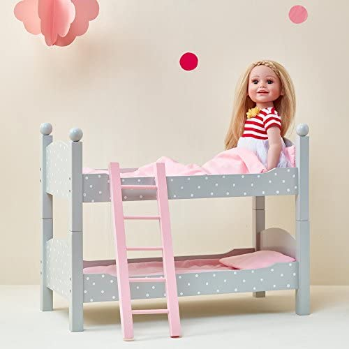 Olivia s Little World Polka Dots Princess 18 inch Doll Double Bunk Bed Stackable Wooden Bunk product image