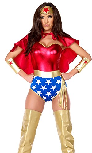 Forplay Women's Super Seductress Costume Set, Red, Small/Medium