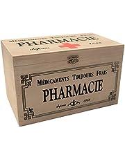 khevga - Caja con Tapa de Madera y decoración con Motivos de Farmacia (25 x 15 x 15 cm)