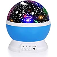 Luckkid Baby Night Light 360 Degree Rotation Moon Star Projector