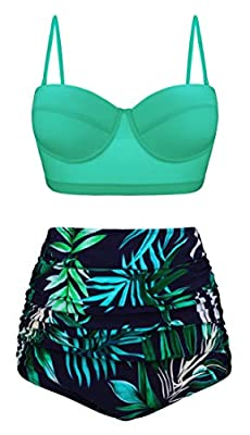 Angerella Green High Waisted Bikini Two Piece Swimsuits for Women Beach Retro Swimwear,XL