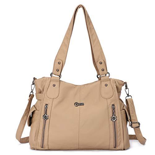 KL928 Damen Hobo Tasche Schultertaschen Handtaschen Umhängetaschen Henkeltaschen Fredsbruder Taschen Weiches PU-Leder (1193-2#6802#117#Apricot)