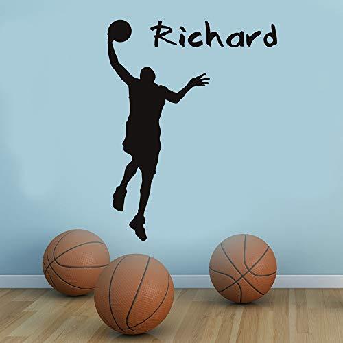 Pegatinas de pared, calcomanías de pared de jugador de baloncesto, decoración del hogar, sala de estar, vinilo extraíble, adhesivo deportivo para pared, decoración para habitación de niños, 56x73cm