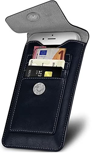 ONEFLOW Zeal Hülle kompatibel mit Samsung Galaxy S9 Plus Hülle mit Kartenfach 360 Grad R&um-Schutz Gürteltasche, Vegan Leder Sleeve Handyhülle Gürtel-Clip Halterung - Navy