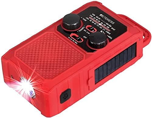 Retekess TR201 Radio de Manivela Solar, Radio de Emergencia FM Am, con Batería Recargable 5000 mAh, Linterna LED y Luz de Lectura, Alarma de Emergencia SOS, para Senderismo, Camping, Emergencia