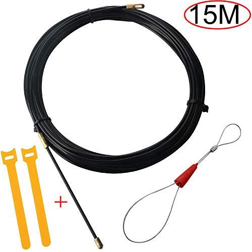 RUNCCI-YUN 15M Kabel-einziehband|Elektrische Draht Einfaedler Kabellauf Stangen Einziehbands Ziehen|Ø3 mm Einziehdraht Kabel|kabeleinziehhilfe