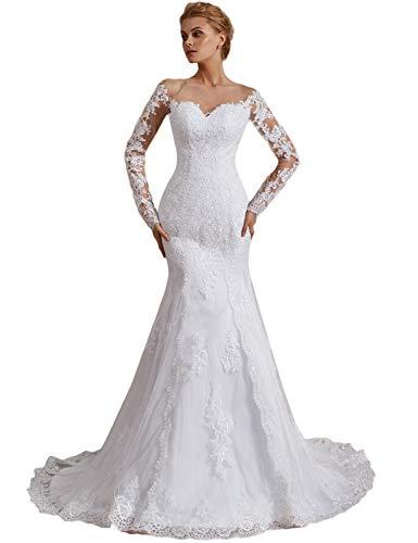 OYISHA Off Shoulder Lace Mermaid Wedding Dresses 1/2 Sleeve Bridal Gown WD162 White 14