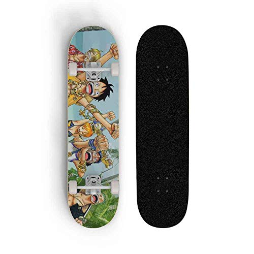 Kssmice One Piece: Monkey D. Luffy Niño Anime Skateboard, Mini Cruiser, Monopatería de Cubierta de Arce de 7 Capas, rodamiento de Carga 100 kg, Scooter de Calle de Caminos para Principiantes