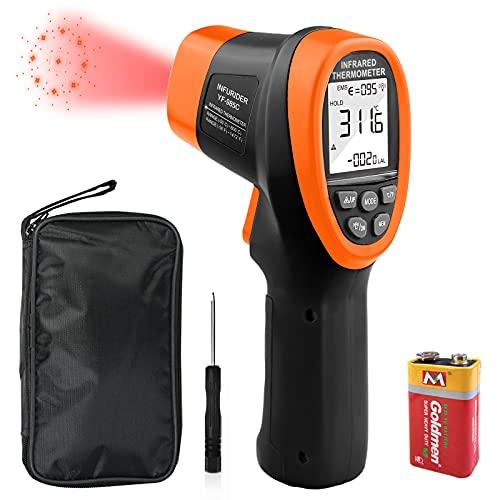 Infrarot Thermometer,INFURIDER YF-985C Berührungslose IR Laser Thermometerpistole -50℃ bis 800℃ Temperaturmessgerät Temperaturmesser für die Industrie Ofen Schmiede【Nicht für Menschen】