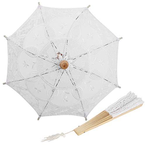 Paraguas de Encaje y Parasol de Abanico, Parasol de Novia de Encaje de Boda y abanicos de Mano Plegables de Encaje de algodón Blanco, para decoración de celebración de Accesorios de fotografía
