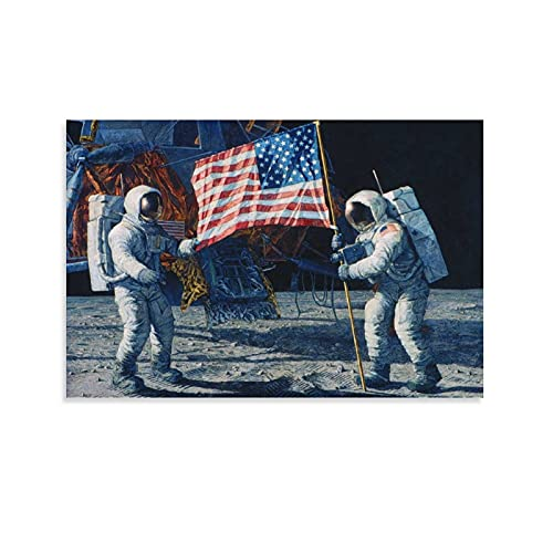 Astronauten Land Mond Flaggen Universum Geschichte Klassenzimmer Poster Wanddruck Geschenke Kunst Leinwand Gemälde Home Modern Dekorative Poster Gerahmt/ungerahmt 60 x 90 cm