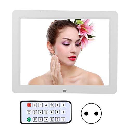 Akozon Digitaler Fotorahmen XCLT-1202 800 * 600 Auflösung 12-Zoll-LED-Multifunktions-HD-Digital-Fotorahmen Elektronische Album-Werbemaschine AC110-240V mit Fernbedienung(Weiß)