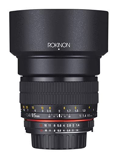Rokinon AE85M-C 85mm F1.4 Aspherical Lens with Built in AE Chip for Canon DSLR Cameras (Black)
