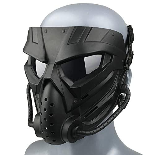 Wwman Máscara de Paintball CS para Uso en Exteriores, máscara táctica de Cara Completa Resistente al Desgaste con Gafas antivaho, para adultos adolescentes (WWZL3-BK-G)