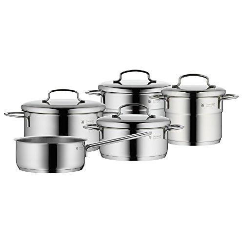WMF Mini Topfset Induktion klein 5-teilig, Kochtopf Set mit Metalldeckel, Cromargan Edelstahl, Töpfe Set stapelbar, ideal für kleine Portionen