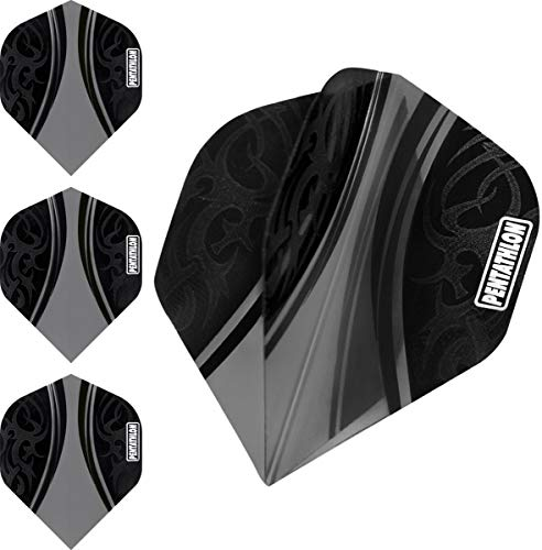 ABC Darts Flights Pentathlon - Tribal Schwarz - 10 sätz (30 stück Dart Flights)