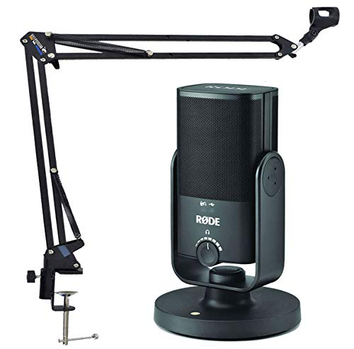 Rode NT-USB Mini - Micrófono de condensador USB para estudio + soporte de brazo articulado Keepdrum NB35BK en negro
