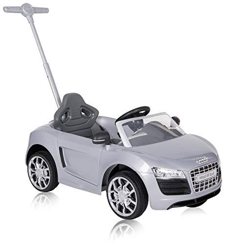 ROLLPLAY Macchina a spinta con poggiapiedi regolabile, Per bambini da 1 anno, Fino a max. 20 kg, Audi R8 Spyder, Grigio metallizzato