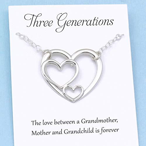 Three Generations of Love ï Sterling Silver Heart Keepsake Necklace ï Grandmother, Mother, Daughter/Son Jewelry ï Gift for Mom Grandma Grandchild