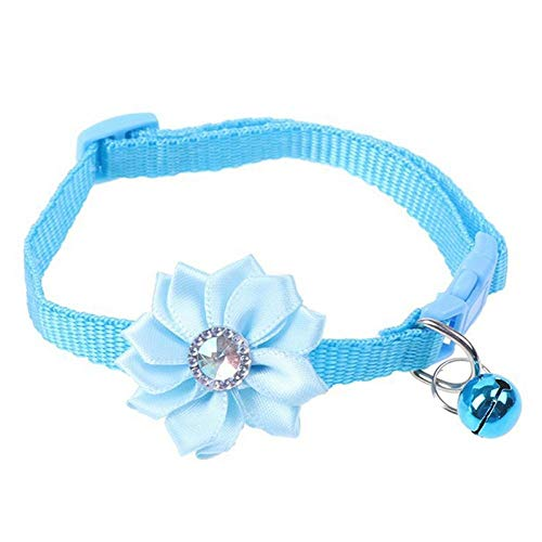 peipei Pet Cat Collar Glocke Anhänger Blume verstellbar Easy Wear Schnalle Dog Collar Bells Schöne Blume Cat Halskette Pet Supplies-LB