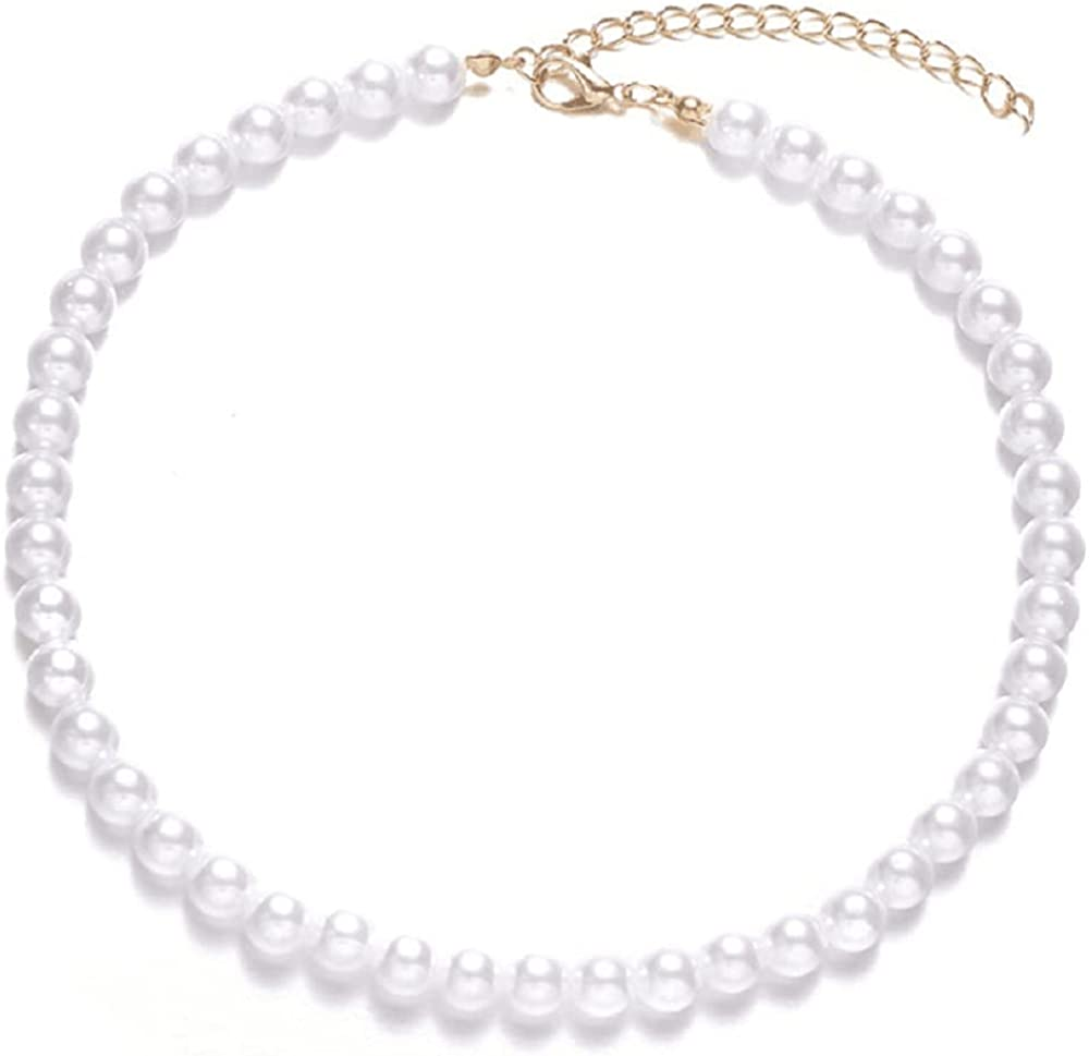 Round Imitation Pearl Necklace Wedding Bride White Pearl Necklace-Diameter of Pearl 8mm gold