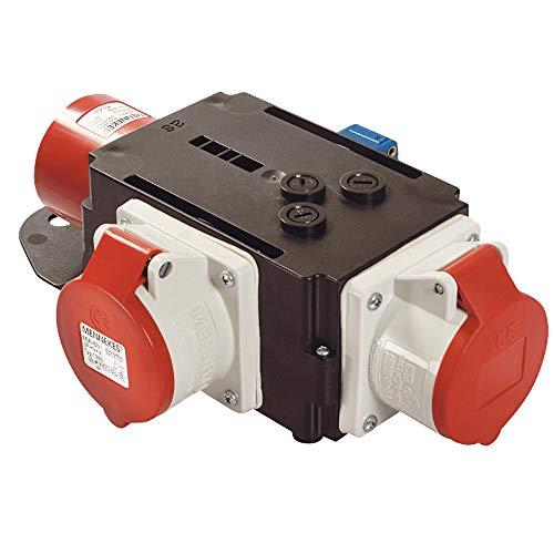 as - Schwabe MIXO Adapter / Stromverteiler RUHR – CEE-Stecker auf 2 CEE-Steckdosen und 1 Schuko Steckdose – Robuster Baustellen Starkstrom-Verteiler – IP44 – Made in Germany I 60833